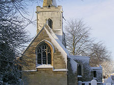 Coton church in snow